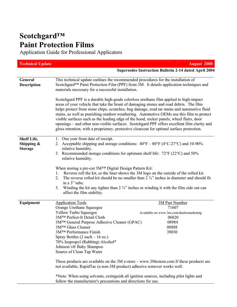 Scotchgard Paint Protection Film Manualzz Com