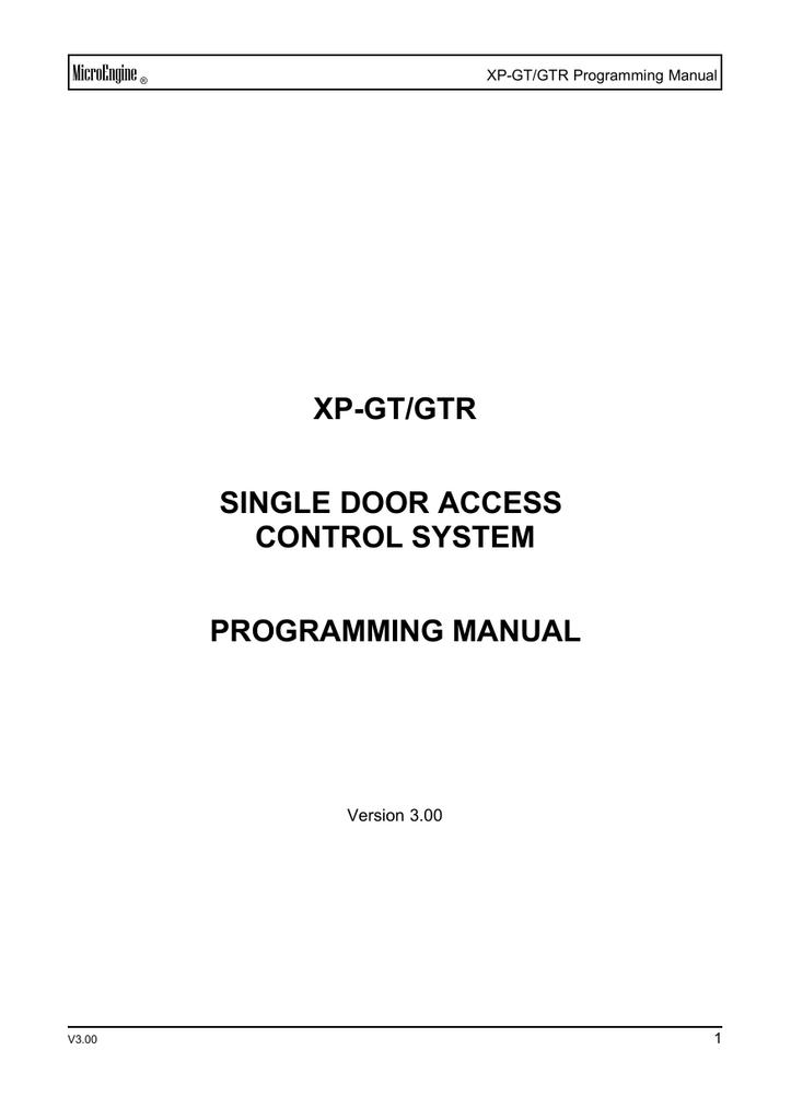 XP-GT / GTR Programming Manual | manualzz com