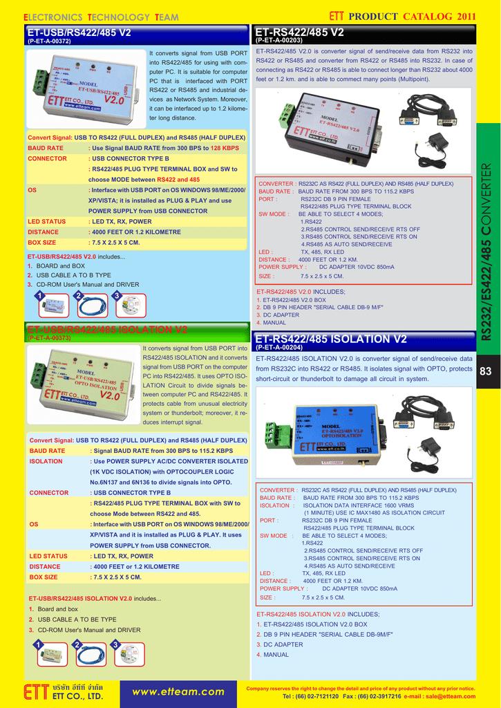 et-rs422/485 isolation v2 et-rs422/485 v2 83   manualzz com