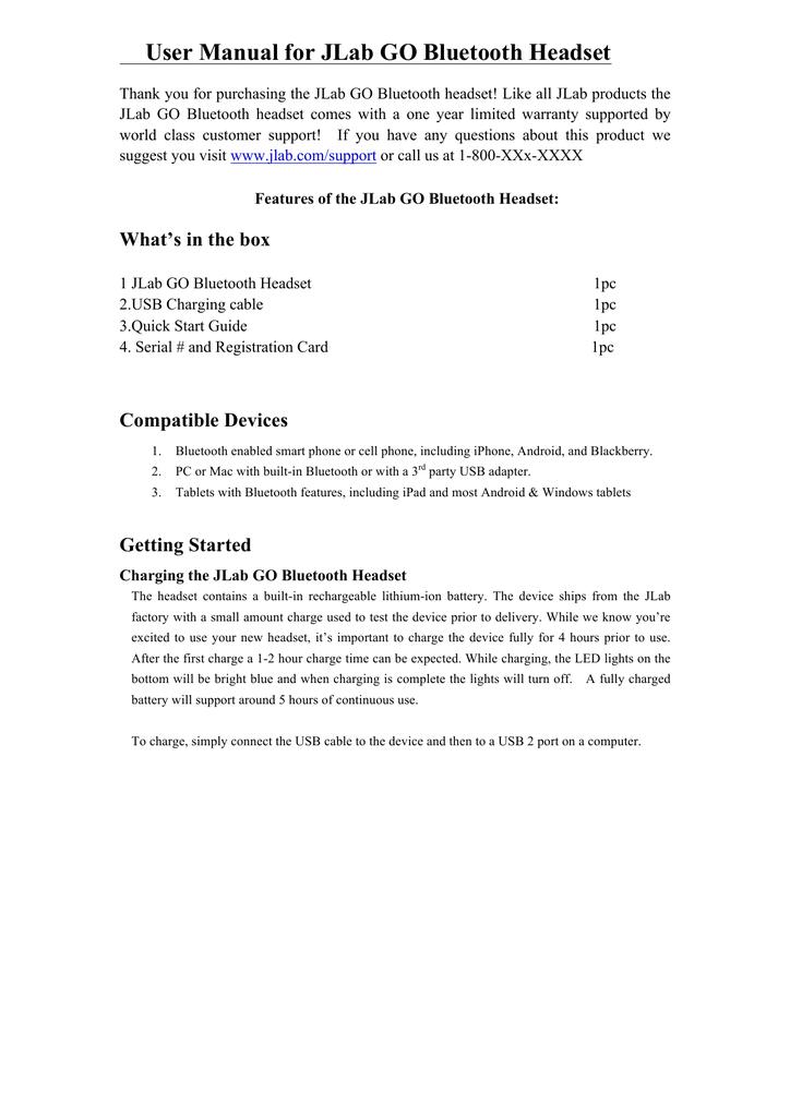 User Manual For Jlab Go Bluetooth Headset Manualzz