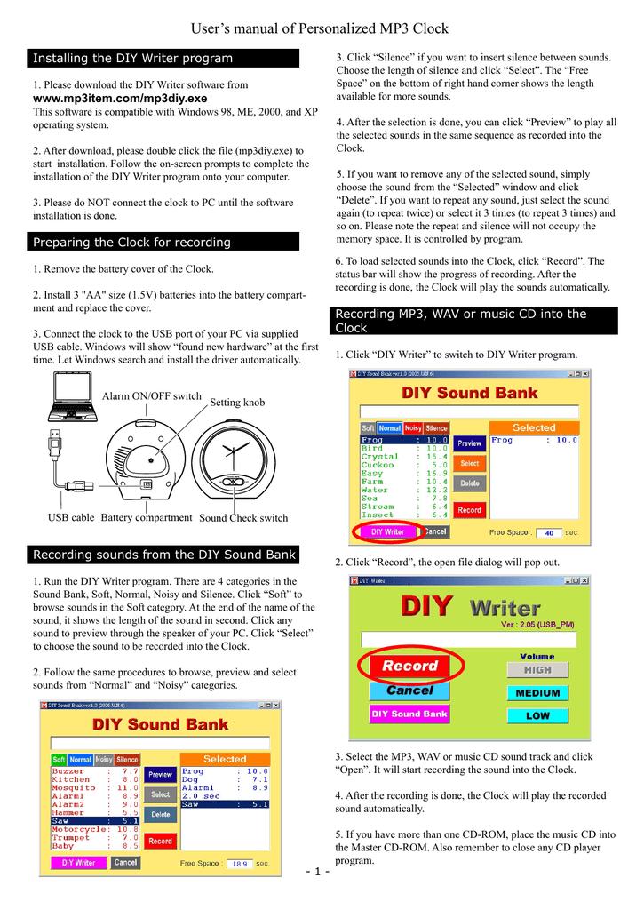 User`s manual of Personalized MP3 Clock | manualzz com