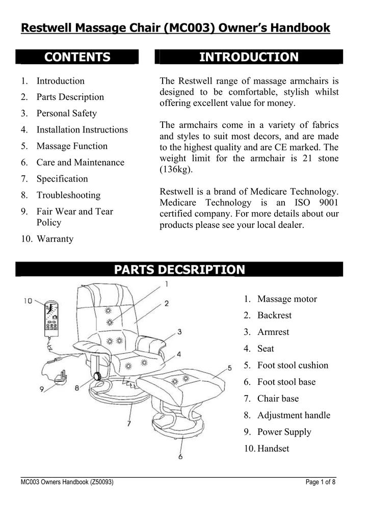 Napoli Massage Chair User Manual Mc003 Manualzz