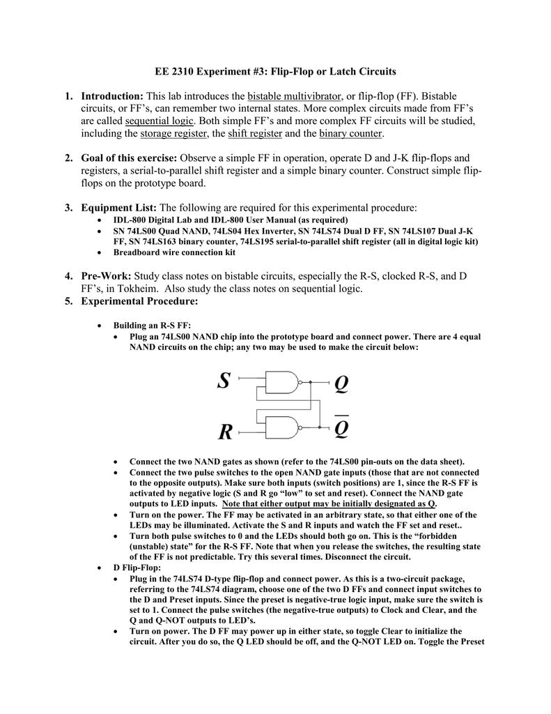 Flip Flop Logic Basic Flipflop Circuit