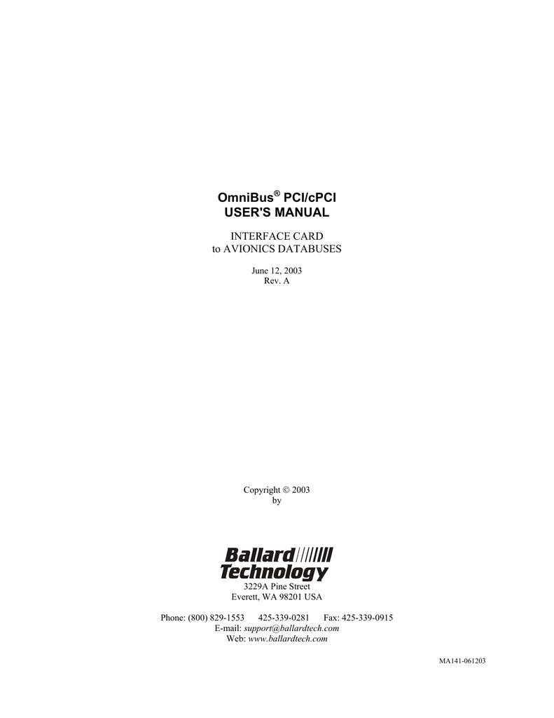OmniBus PCI/cPCI USER`S MANUAL | manualzz.com