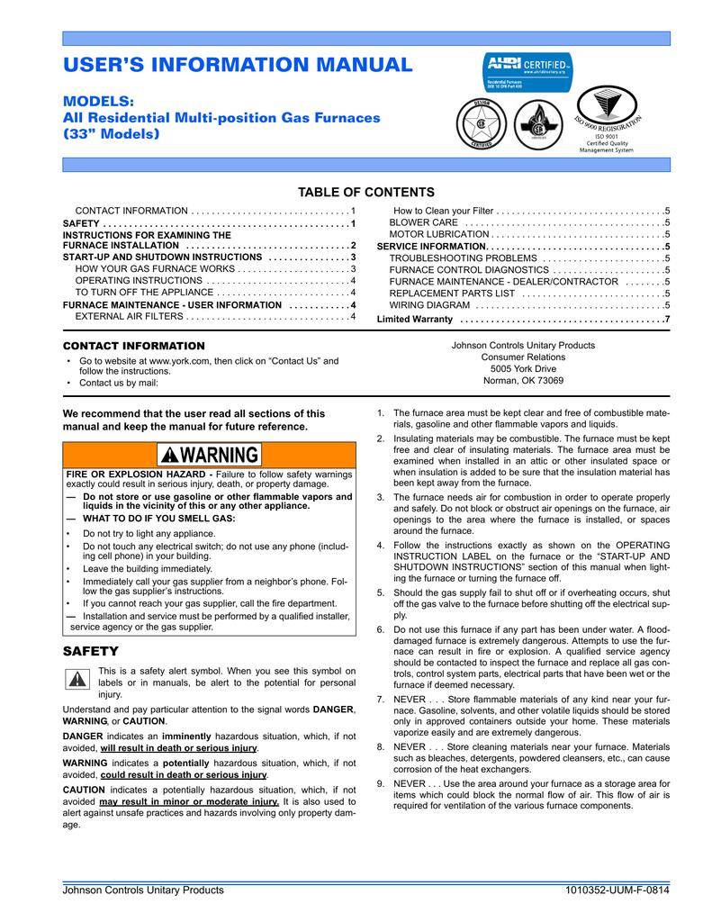 User Manual Johnson Controls Wiring Diagram