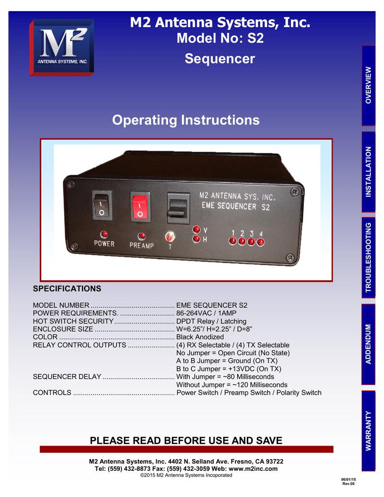S2 Sequencer Operating Instructions | manualzz com