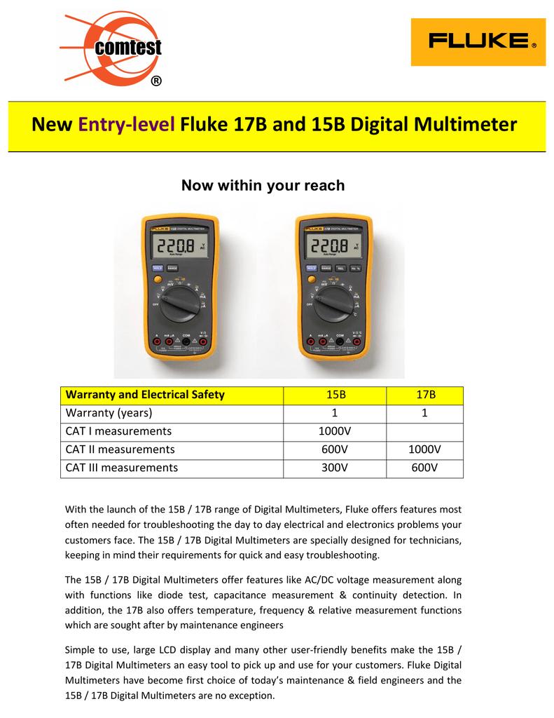 fluke 17b+ digital multimeter user manual