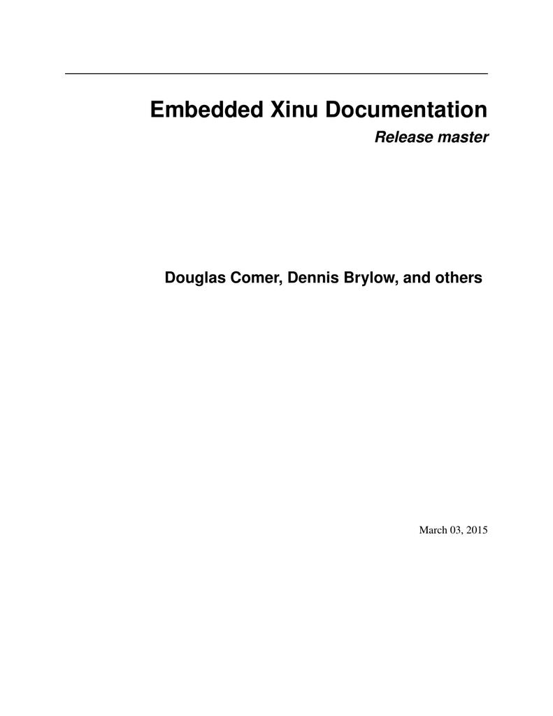 Embedded Xinu Documentation Manualzz