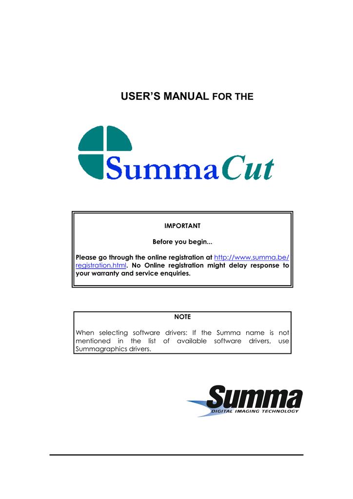 SummaCut Manual | manualzz com