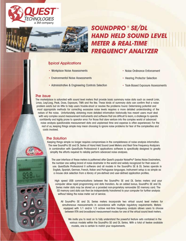 soundpro® se/dl hand held sound level meter & real-time