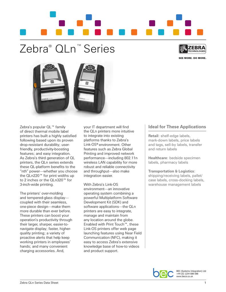 Zebra: QLn 220 | manualzz com