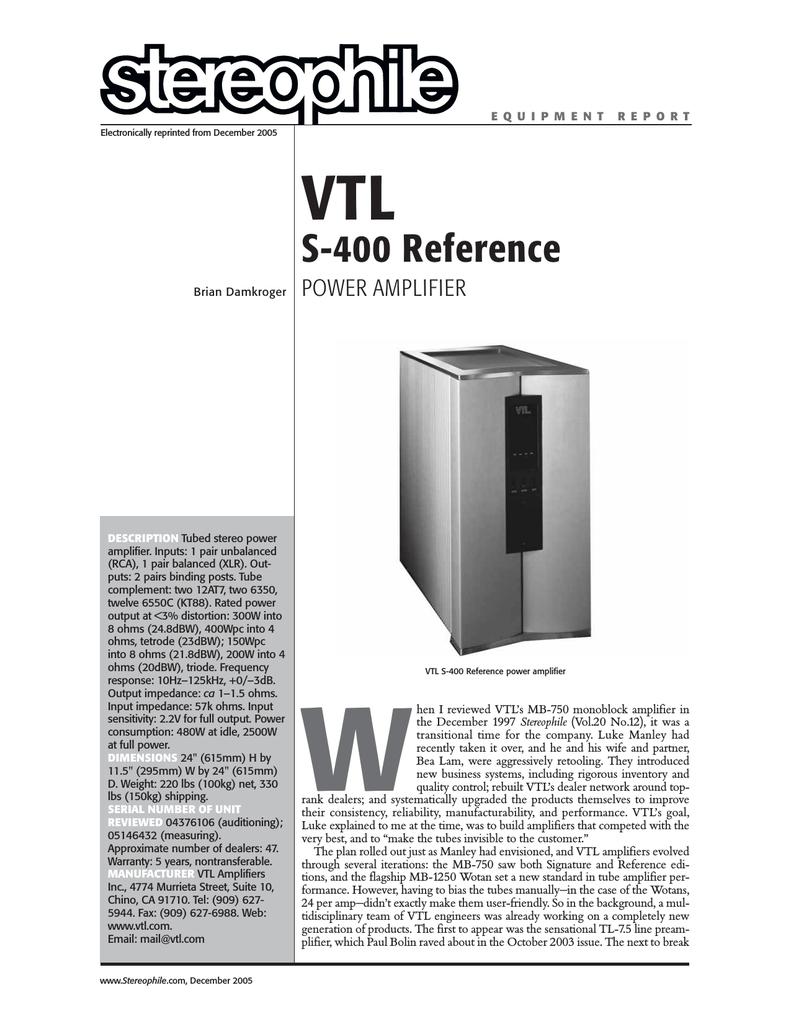 VTL S-400 Reference | manualzz com