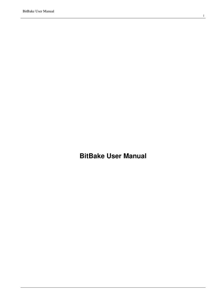 BitBake User Manual | manualzz com