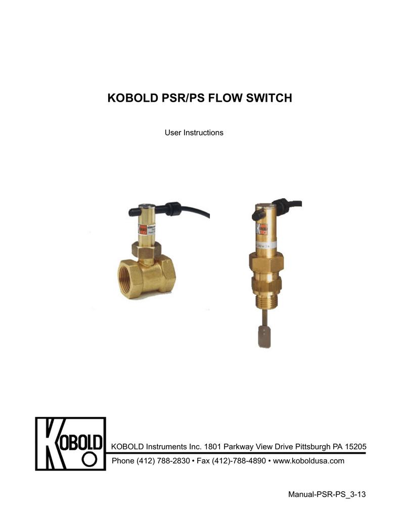 Kobold PSR-5120 Flow Switch Brass 3.0-4.0//2.2-3.0 GPM Increase//Decrease