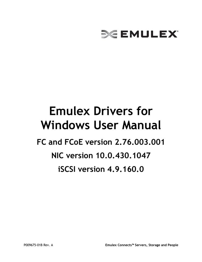 Emulex Drivers for Windows User Manual   manualzz com