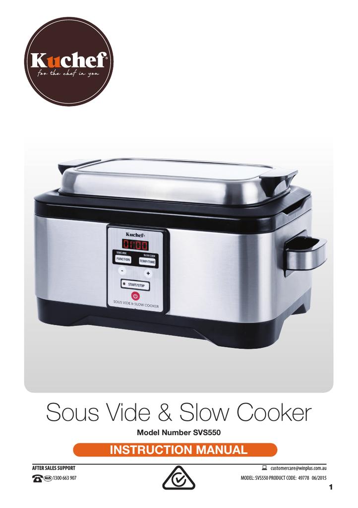 Svs550 Kuchef Sous Vide Slow Cooker Instruction Manual V6