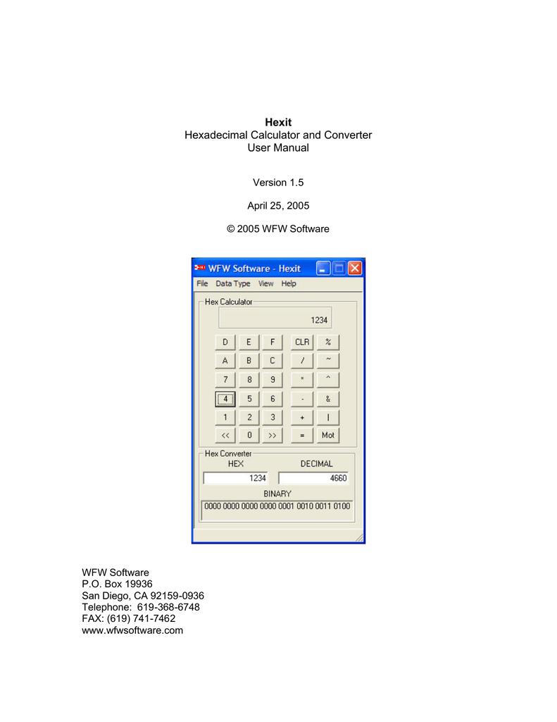 Hexit Hexadecimal Calculator and Converter User Manual | manualzz com