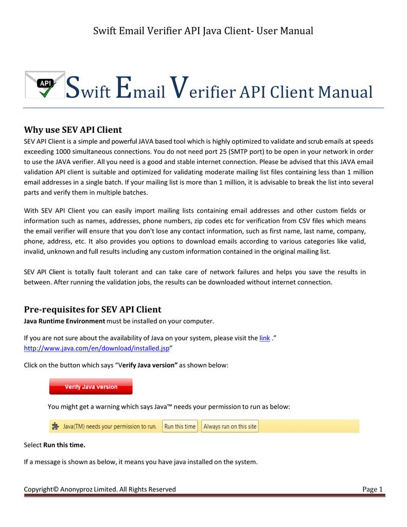 Swift Email Verifier API Java Client- User Manual | manualzz com