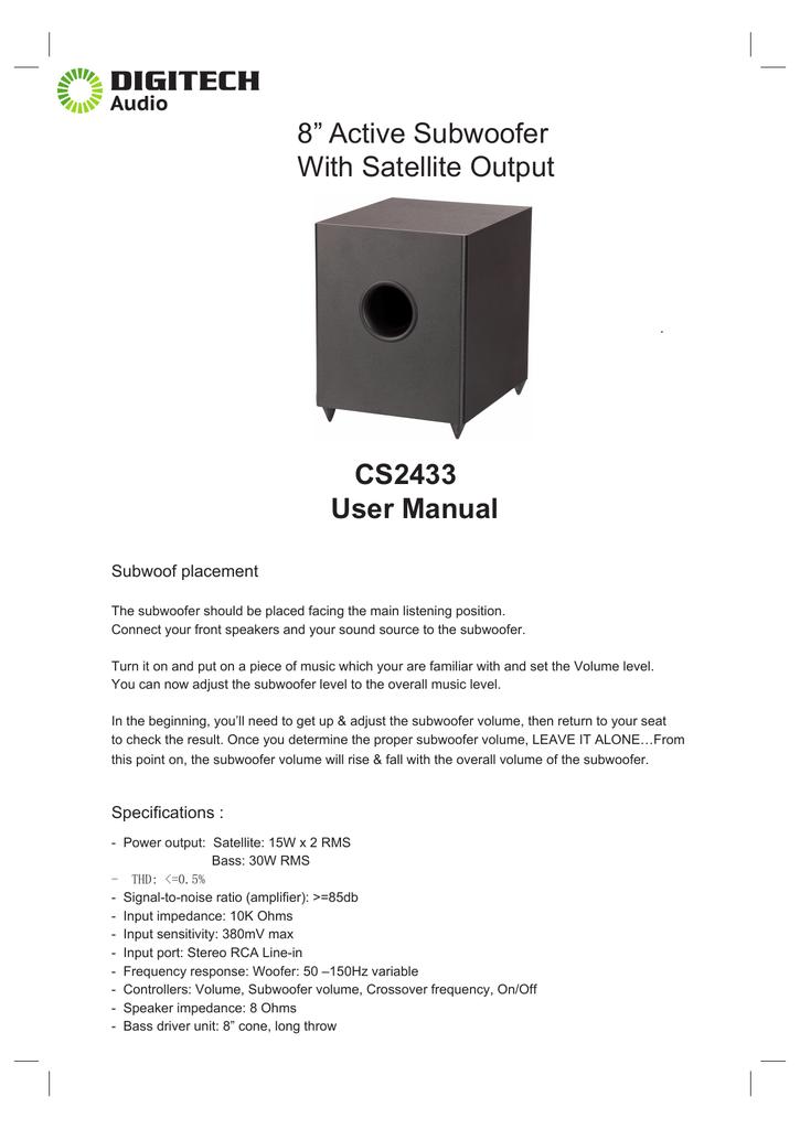 "CS2433 User Manual 8"" Active Subwoofer With   manualzz com"