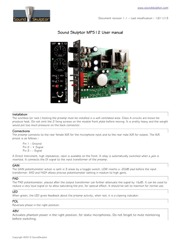 Sound Skulptor MP512 User manual | manualzz com