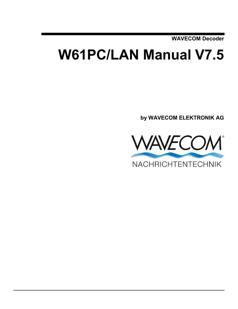 WAVECOM Decoder W61PC/LAN Manual V7 5 | manualzz com