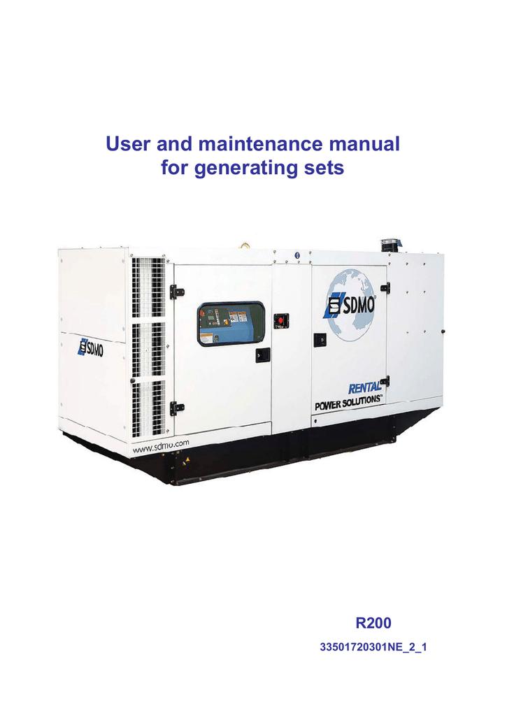 Generating set R200 - User manual - SDMO | manualzz com