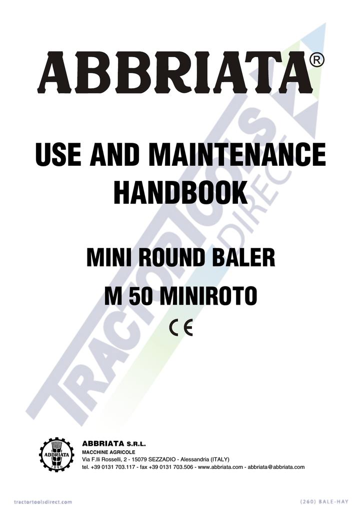 abbriata mini round hay baler user`s manual | manualzz com