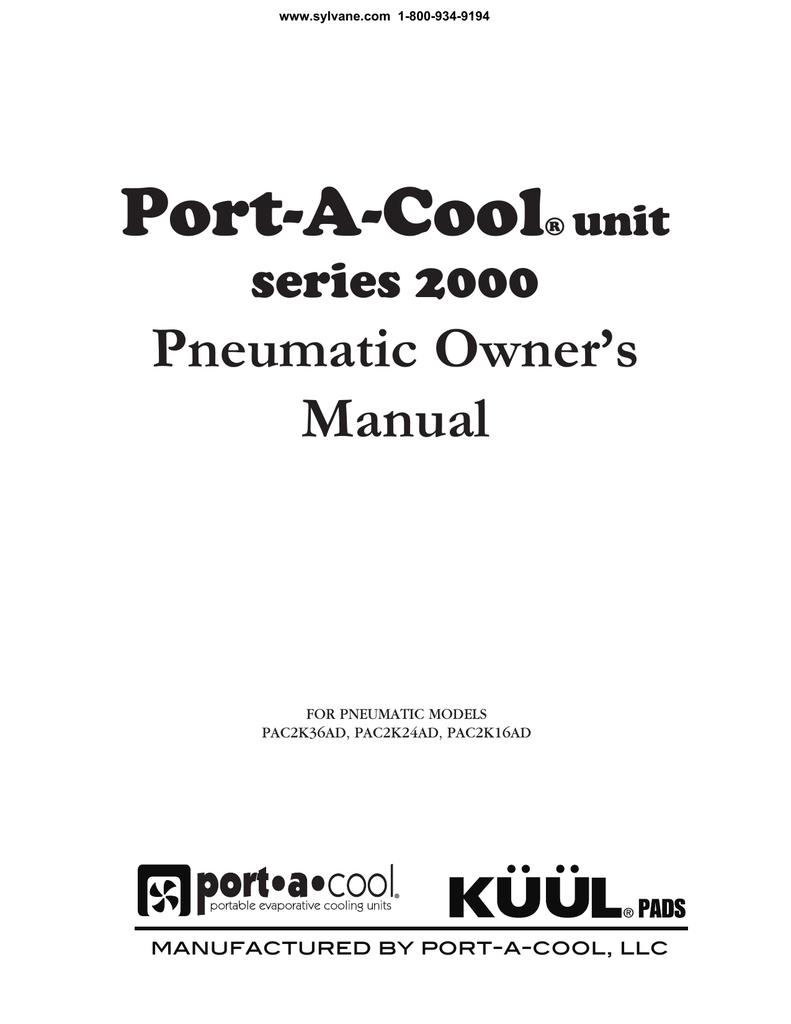 Port-A-Cool 16-Inch Pneumatic Evaporative Cooler User Manual
