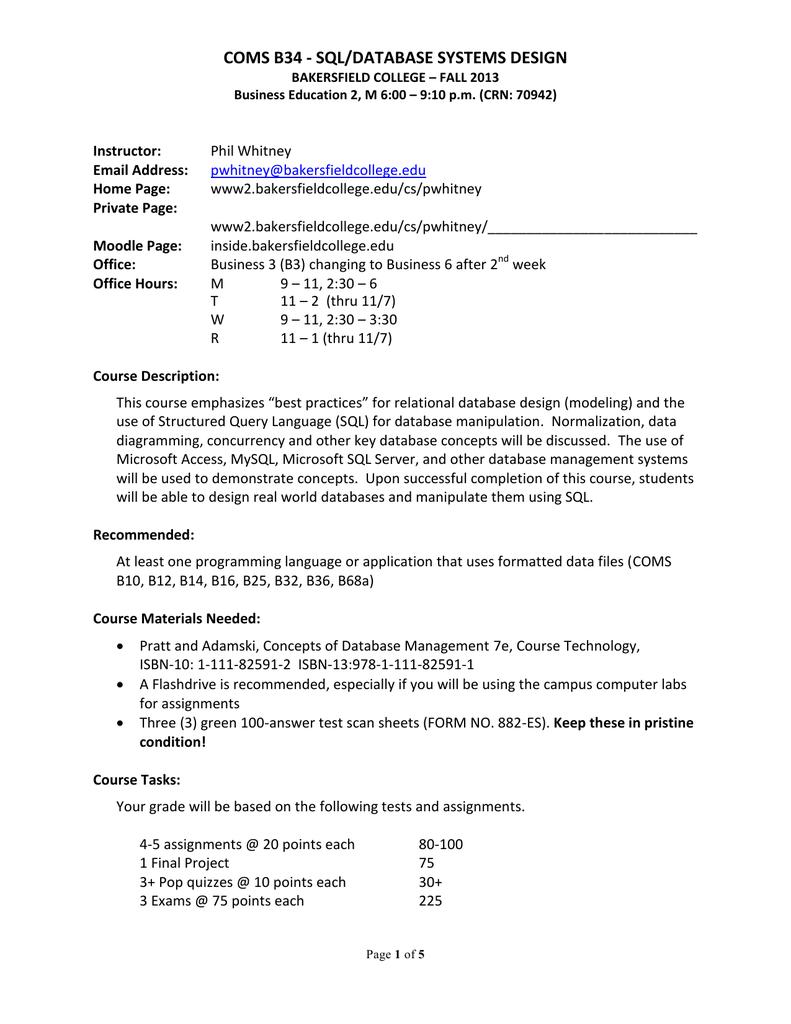 Coms B34 Syllabus Bakersfield College Manualzz