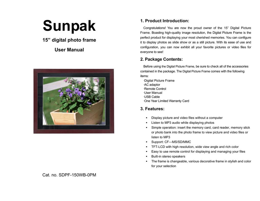 Sunpak 15 Digital Photo Frame User Manual Manualzzcom
