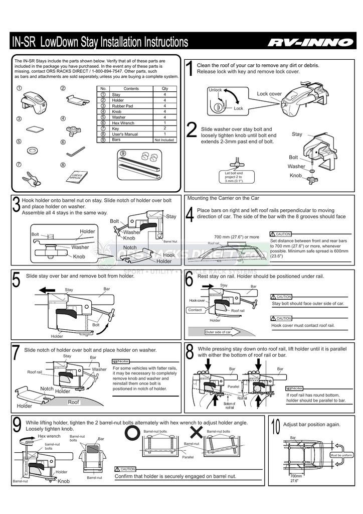 Inno Racks In Sr Roof Rack Installation Instructions Manual Manualzz