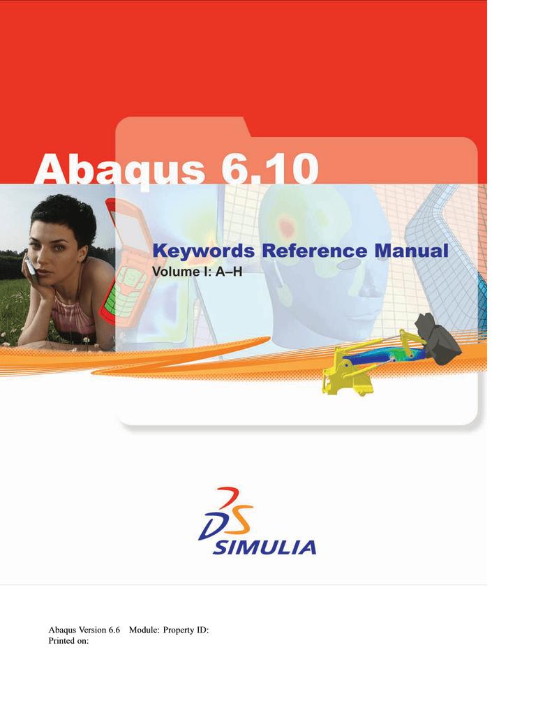 Volume I: A–H - Abaqus 6 10 Documentation   manualzz com