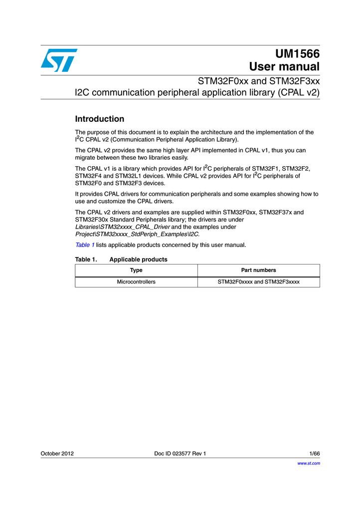 CPAL v2 - STMicroelectronics   manualzz com