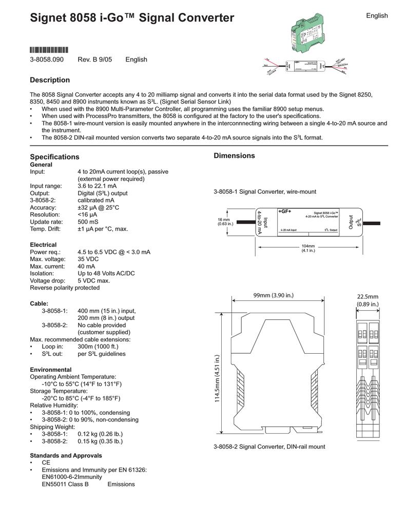 Signal Converter Wiring Diagram Trusted Diagrams 9118 Magneto Signet 8058 I Go Manualzz Com