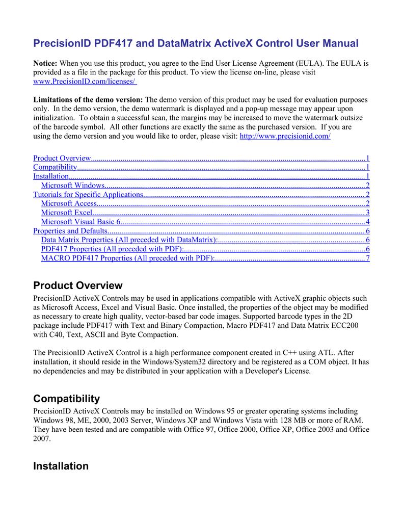 PrecisionID ActiveX Control User Manual | manualzz com