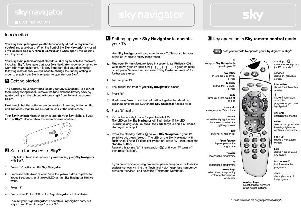 Sky Navigator User Instructions   manualzz com