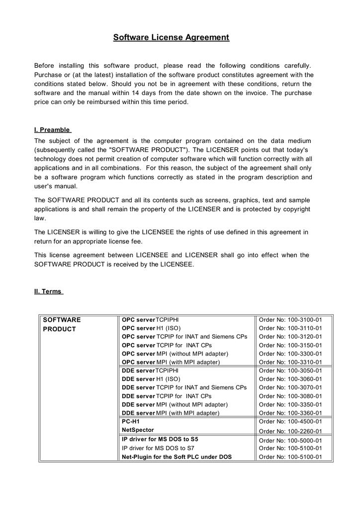 Software License Agreement | manualzz com