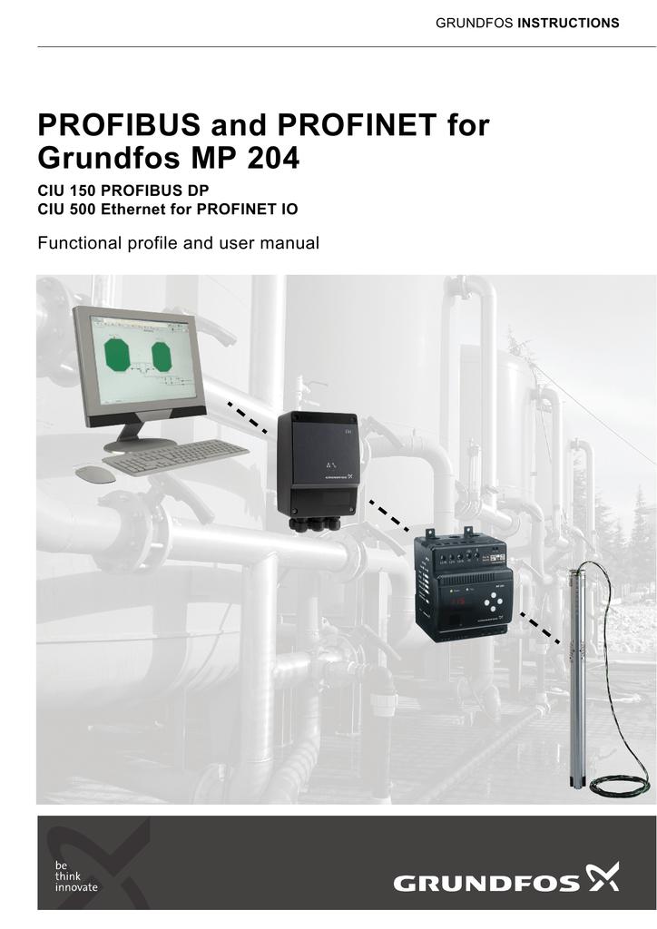 profibus and profinet for grundfos mp 204 manualzz com rh manualzz com Grundfos Pump Parts Manual Grundfos MQ Manual