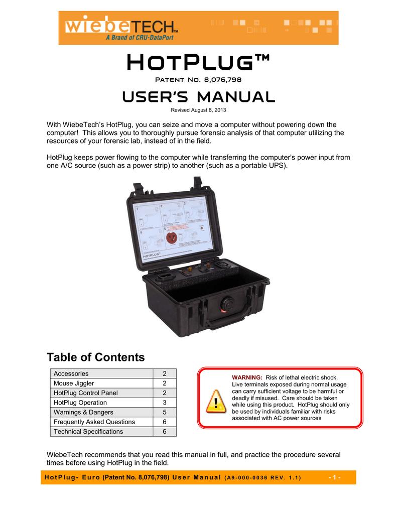 User`s Manual for HotPlug LT | manualzz com