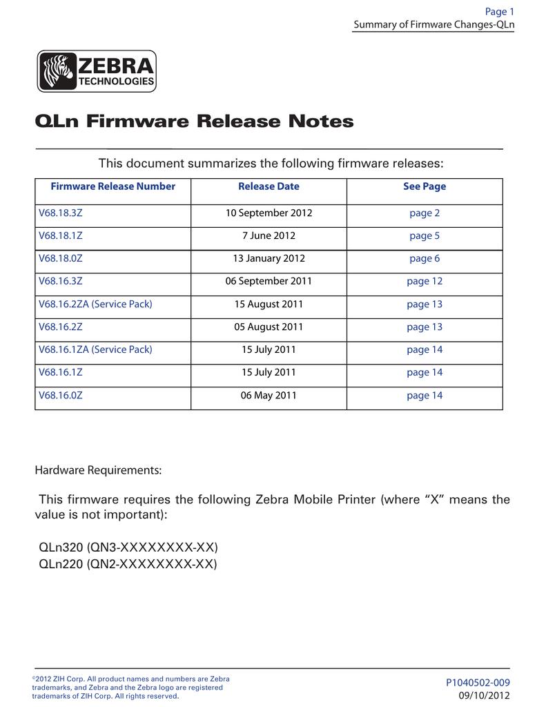 QLn Firmware Release Notes | manualzz com