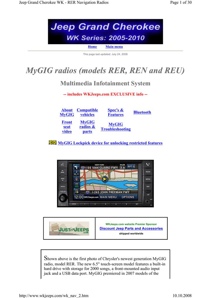 MyGIG radios (models RER, REN and REU) | manualzz com