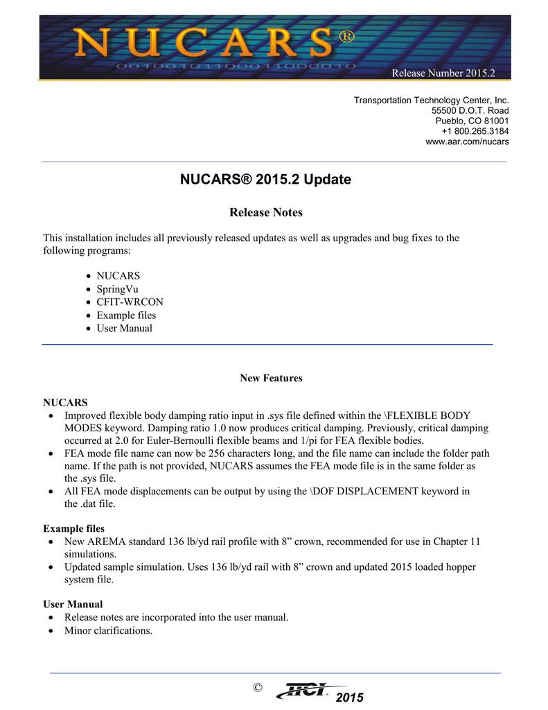 Release notes - Transportation Technology Center | manualzz com