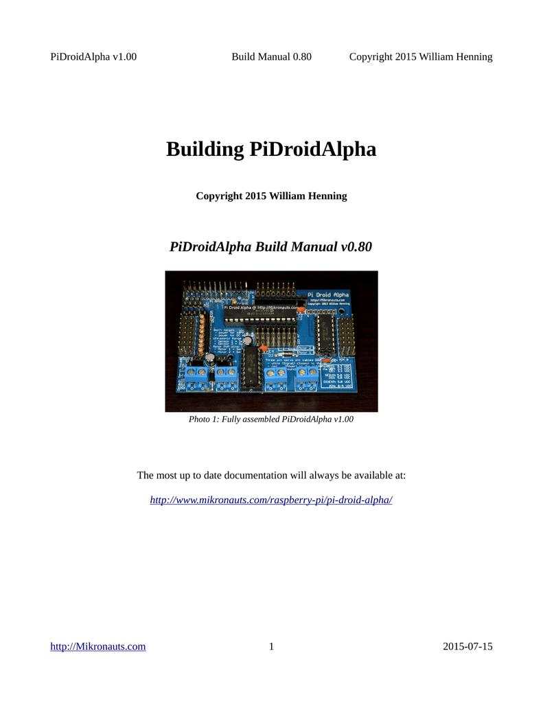 Pi Droid Alpha Build Manual v0 80   manualzz com