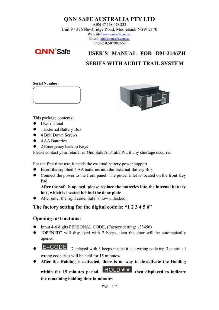 user`s manual for mb series hotel safe   manualzz com