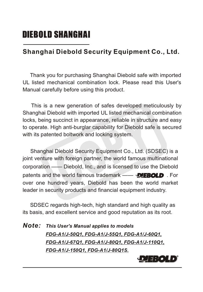 Shanghai Diebold Security Equipment Co , Ltd  | manualzz com