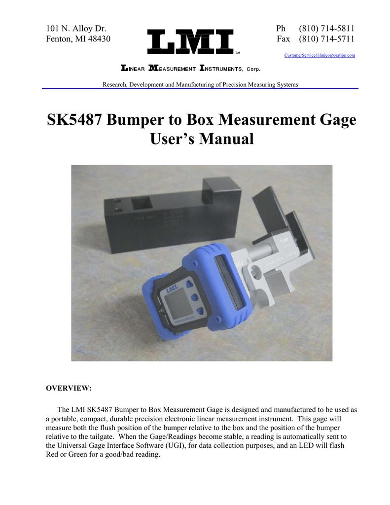 LMI Bumper to Box Gage User Manual   manualzz com