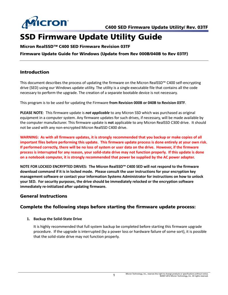 C400 SED Firmware Update Utility (Win7) Rev  040B | manualzz com