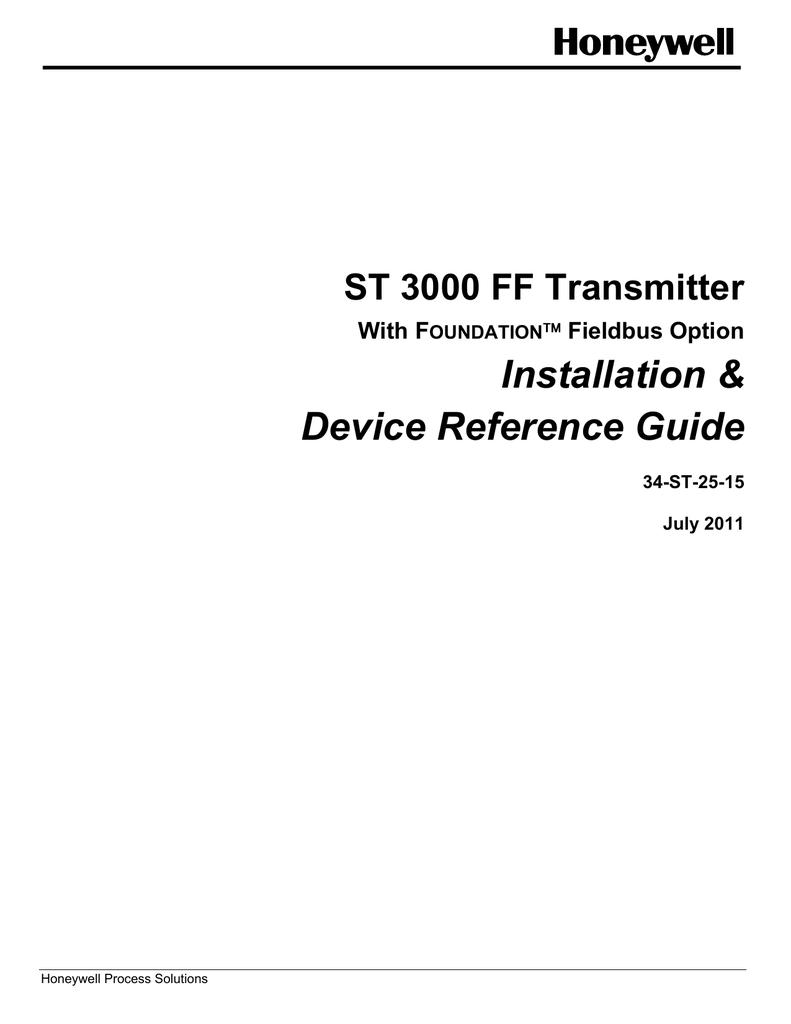 Honeywell St3000 Users Manual 34 St 25 15 Smart Vfd