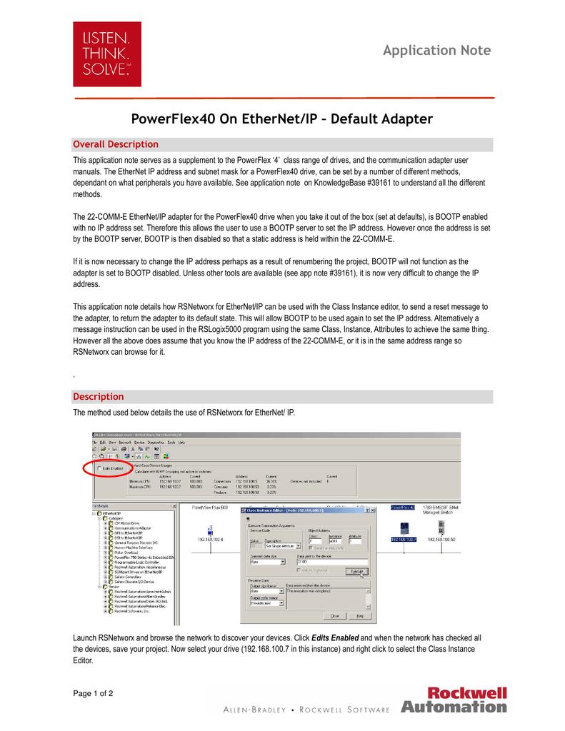 Application Note PowerFlex40 On EtherNet/IP | manualzz com