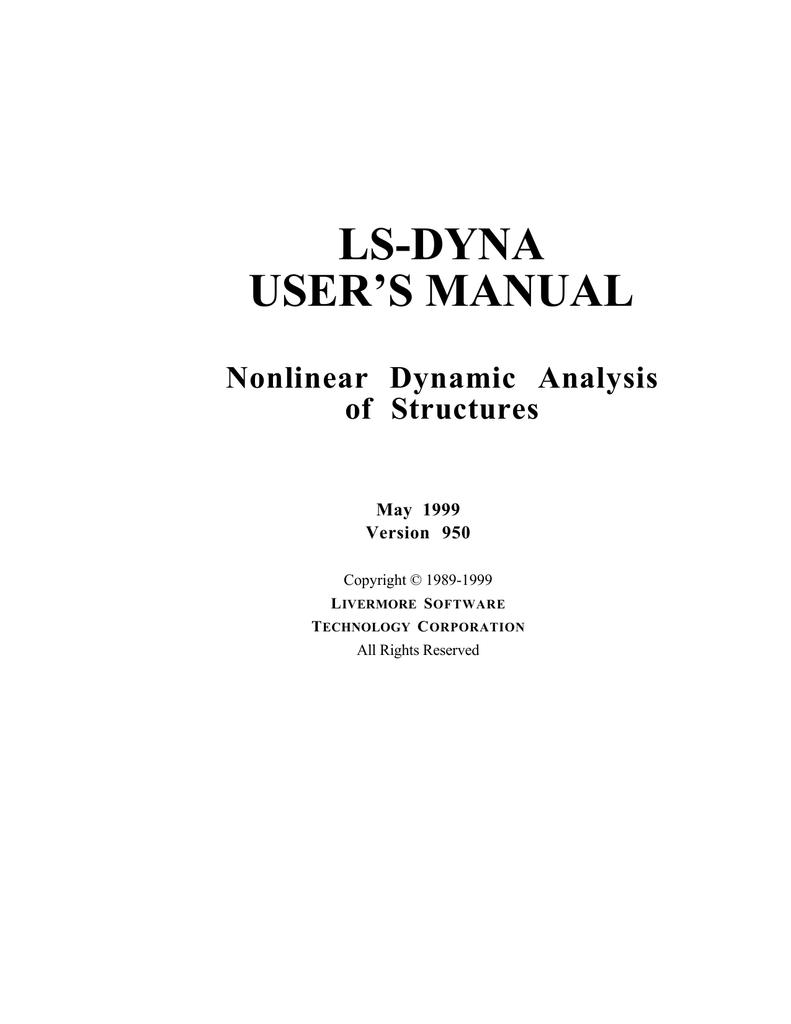 LS-DYNA USER`S MANUAL - the LS | manualzz com